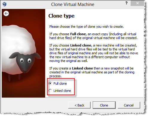 virtual machine clone type
